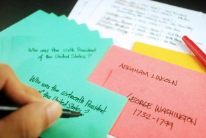 A great study tip: Rewriting notes on index cards can increase retention of the material.